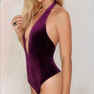 Nasty Gal Velvet Halter Derp Plunge Bodysuit NEW